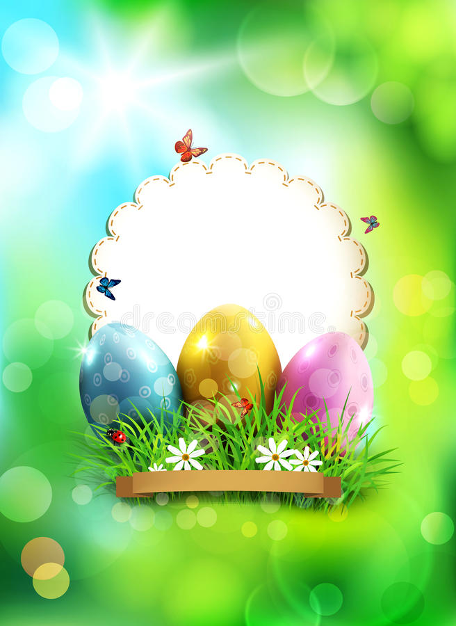 Vector easter background, with eggs, grass and round card for te royalty free illustration