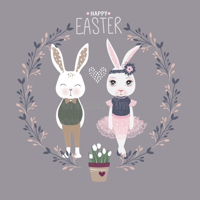 Vector Easter bunny with eggs. Happy Easter greeting card. Cute stock illustration