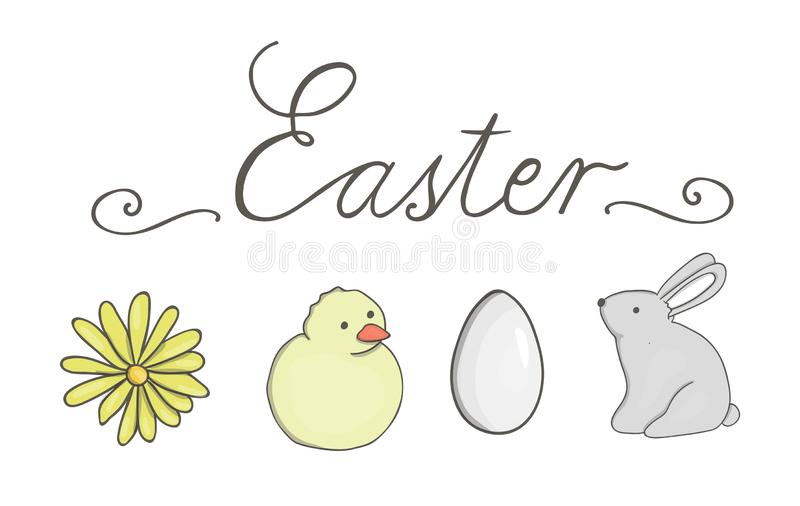 Vector Easter set with lettering royalty free illustration