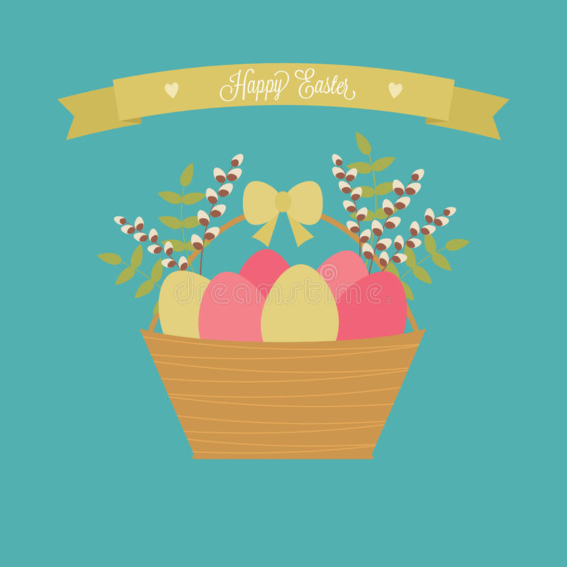 Vector Easter card. Easter basket with eggs, willow, green branches. stock illustration