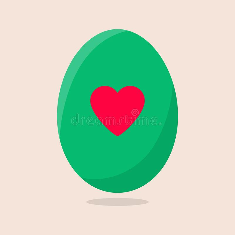 Vector Easter Egg isolated on beige background. Colorful Egg with Heart Pattern. Flat Style. For Greeting Cards, Invitations. royalty free illustration