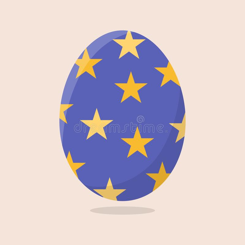 Vector Easter Egg isolated on beige background. Colorful Egg with Stars Pattern. Flat Style. For Greeting Cards, Invitations. stock illustration