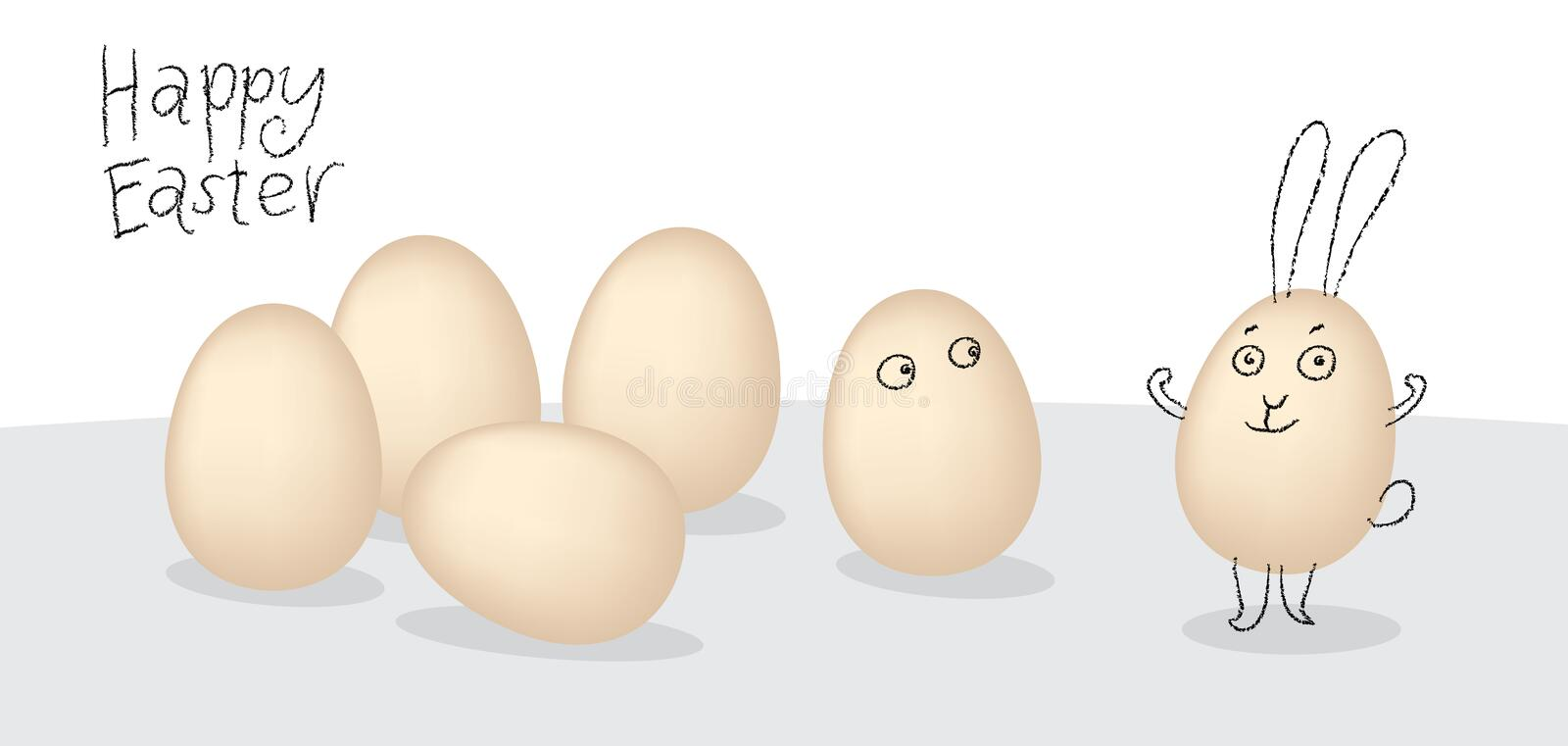 Vector easter eggs with cartoon little cheeks. Simple sketch easter motive . stock illustration