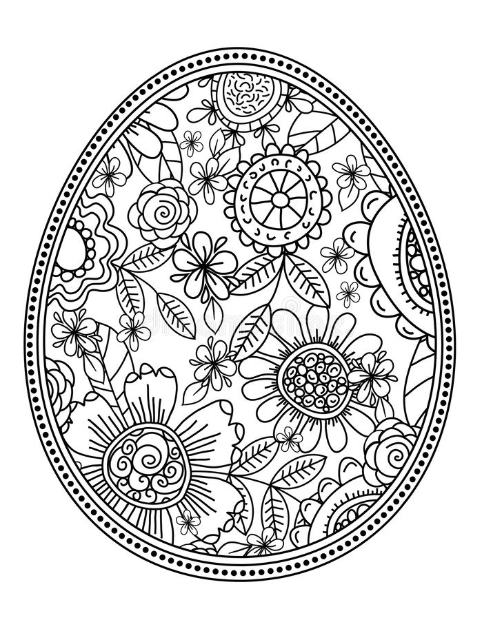 Vector easter eggs with floral pattern for coloring book. Hand-drawn decorative elements in vector. Black and white. Zentangle - stock illustration