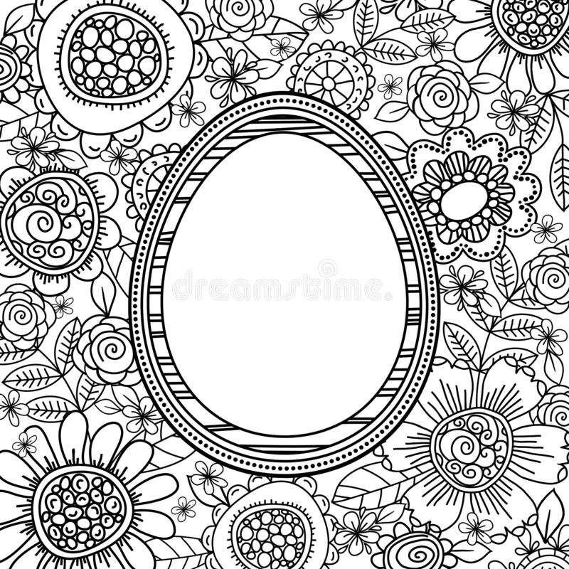 Vector easter eggs with floral pattern for coloring book. Hand-drawn decorative elements in vector. Black and white. Zentangle. Vector. Easter holidays design vector illustration