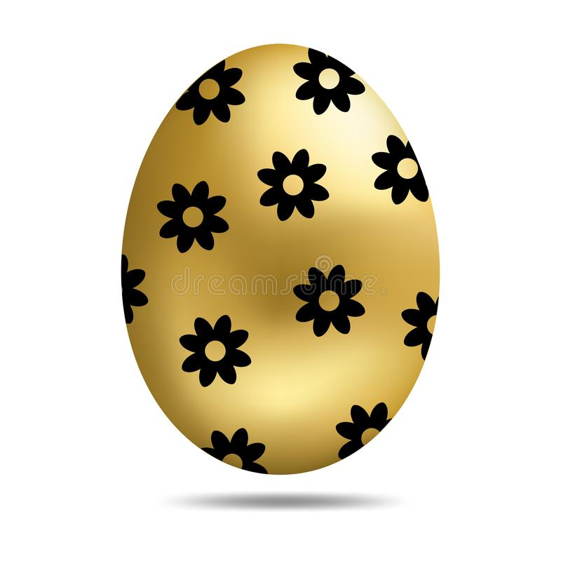 Vector Easter Golden Egg isolated on white background. Colorful Egg with Dots Pattern. Realistic Style. Vector illustration. royalty free illustration