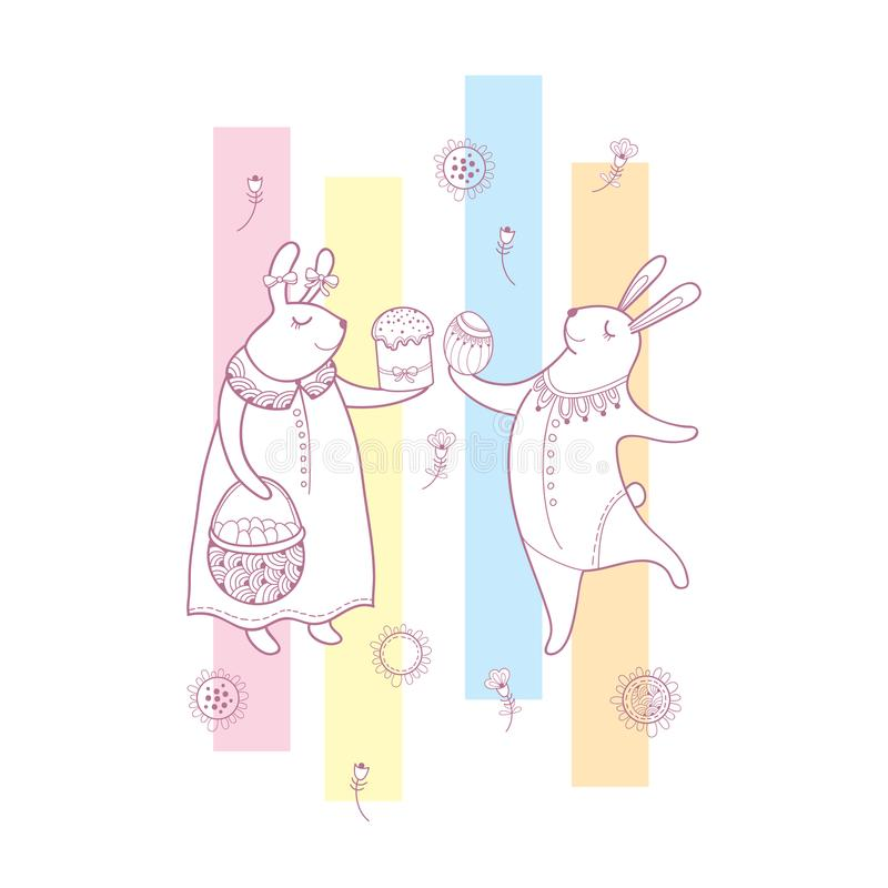Vector easter greeting card with outline rabbit couple traditional download vector easter greeting card with outline rabbit couple traditional easter symbol and stripes in m4hsunfo