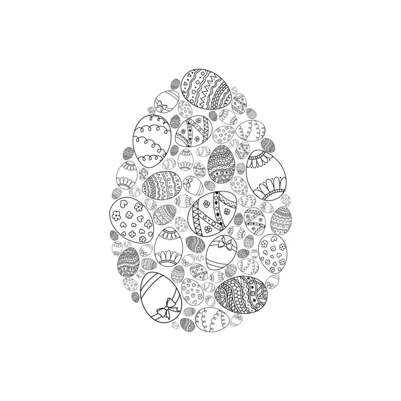 Vector easter invitation card of egg shape from black doodle Easter eggs on white background. Easter coloring page book royalty free illustration