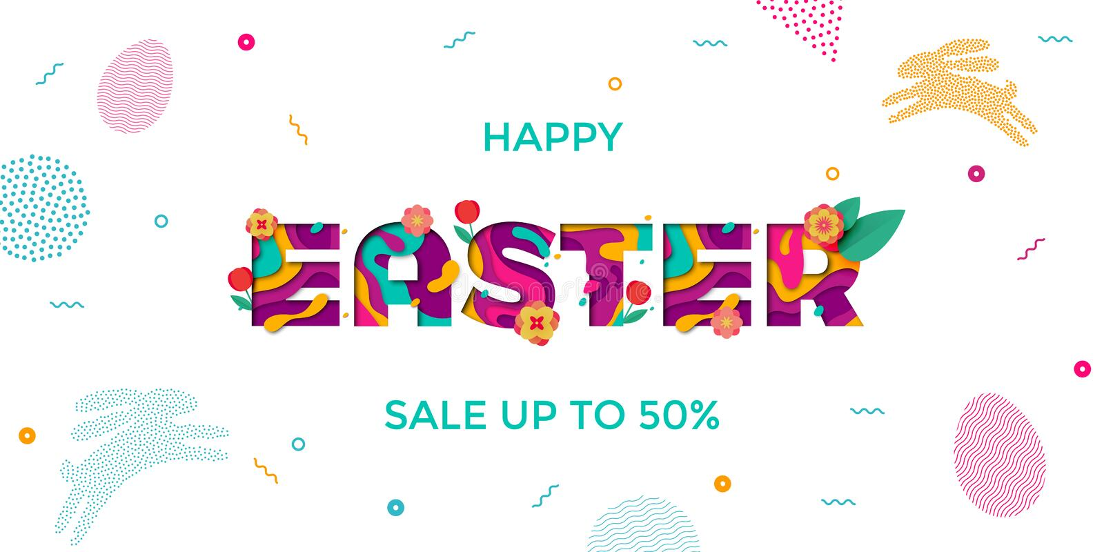 Vector Easter sale banner of paper cut text lettering with spring cherry and tulip flowers. Papercut Easter poster with modern col vector illustration
