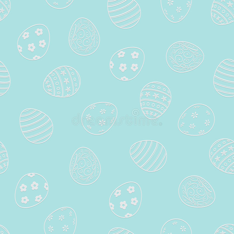 Vector Easter seamless pattern. Easter eggs on light blue background. vector illustration