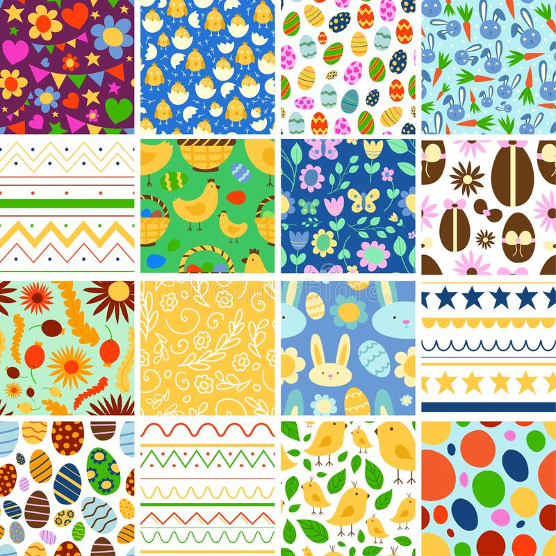 Vector Easter spring traditional background seamless pattern illustration with egg card design Easter holiday royalty free illustration
