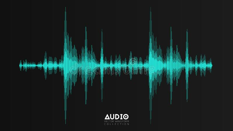 Vector echo audio wavefrom. Abstract music waves oscillation. Futuristic sound wave visualization. Synthetic music vector illustration