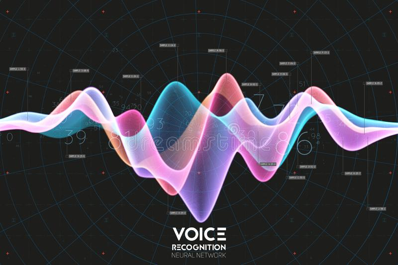 Vector echo audio wavefrom. Abstract music waves oscillation. Futuristic sound wave visualization. Synthetic music stock illustration