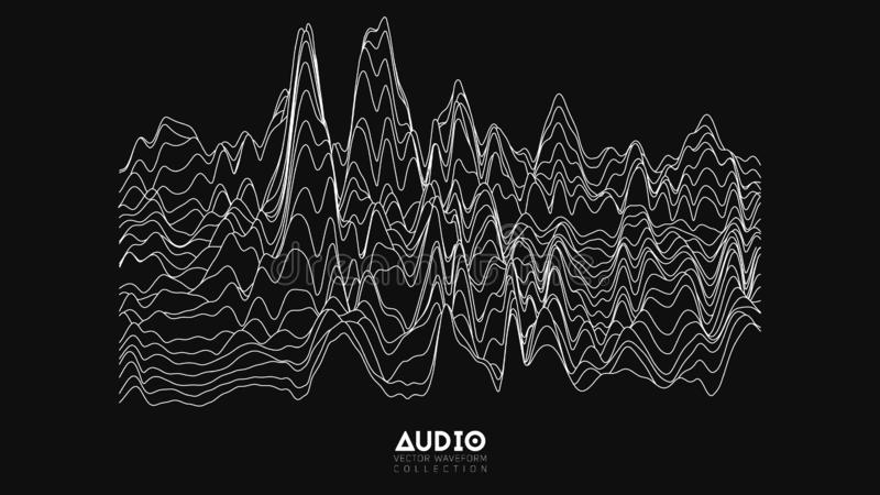 Vector echo audio wavefrom spectrum. Abstract music waves oscillation graph. Futuristic sound wave visualization. Black vector illustration