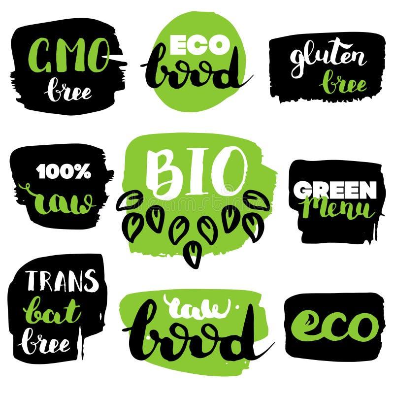 Vector eco, органические, био логотипы или знаки Vegan, сырцовые, здоровые значки еды, бирки установил для кафа, ресторанов, упак иллюстрация вектора