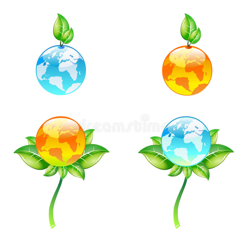 Vector eco globes. Isolated on white. EPS available stock illustration