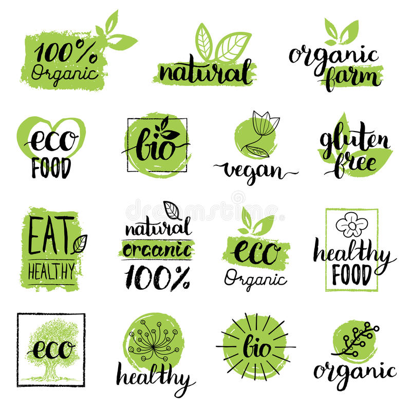 Free Vector Eco, Organic, Bio Logos Or Signs. Vegan,healthy Food Badges,tags Set For Cafe,restaurants,products Packaging Etc. Stock Photography - 92170952