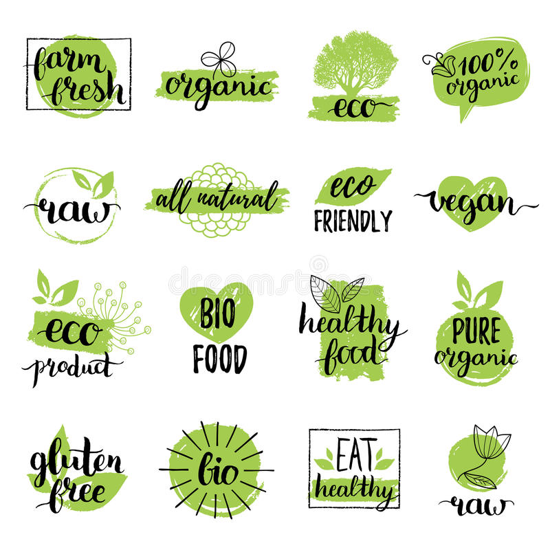 Vector eco, organic, bio logos or signs. Vegan,healthy food badges,tags set for cafe,restaurants,products packaging etc. Vector eco, organic, bio logos or signs royalty free illustration