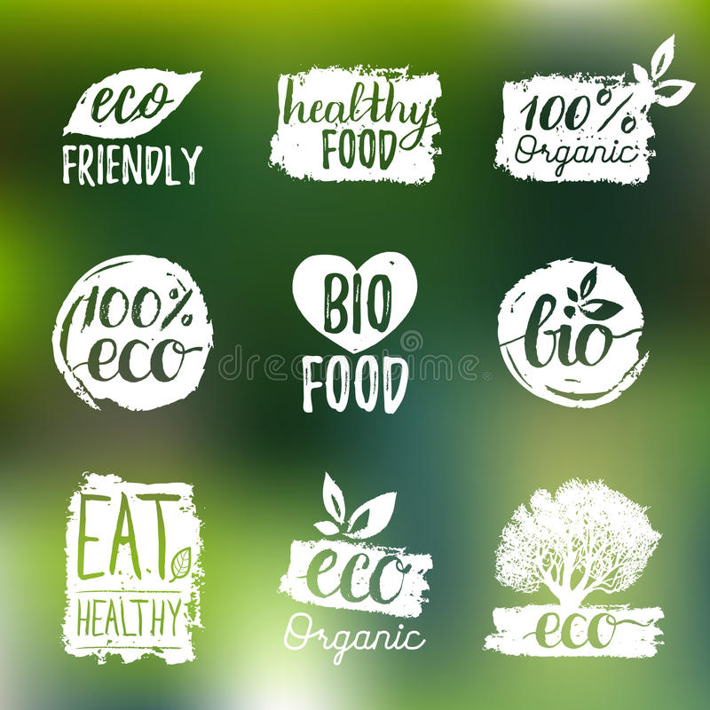 Vector eco, organic, bio logos or signs. Vegan,healthy food badges,tags set for cafe,restaurants,products packaging etc. Vector eco, organic, bio logos or signs vector illustration