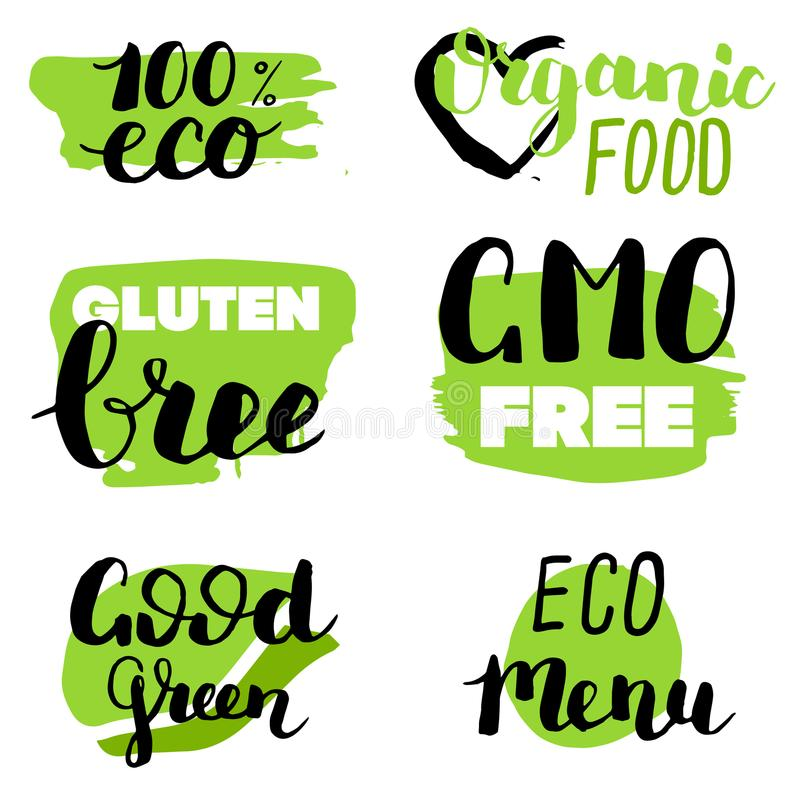 Vector eco, organic, bio logos or signs. Vegan, raw, healthy food badges, tags set for cafe, restaurants, products packaging. Etc royalty free illustration