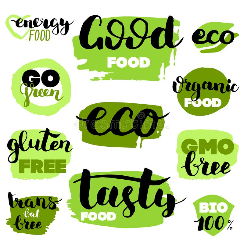 Vector eco, organic, bio logos or signs. Vegan, raw, healthy food badges, tags set for cafe, restaurants, products packaging. Etc vector illustration