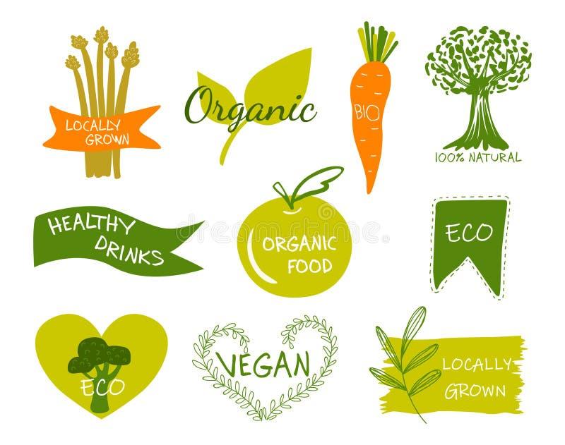 Vector eco, organic, bio logos or signs. vector illustration