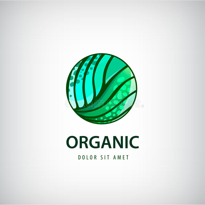 Vector eco, organisches, gesundes Naturkostlogo, Ikone lizenzfreie abbildung