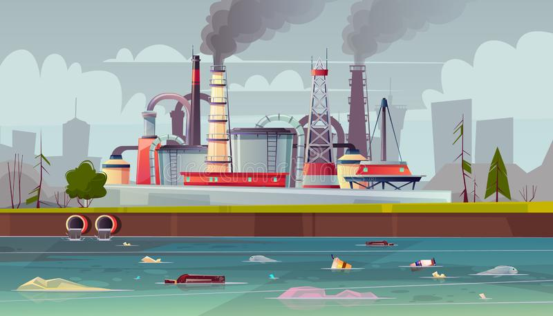 Vector ecology concept. Water pollution. Factory plant. Vector background with environmental pollution. Factory plant smokes with smog, trash emission from vector illustration