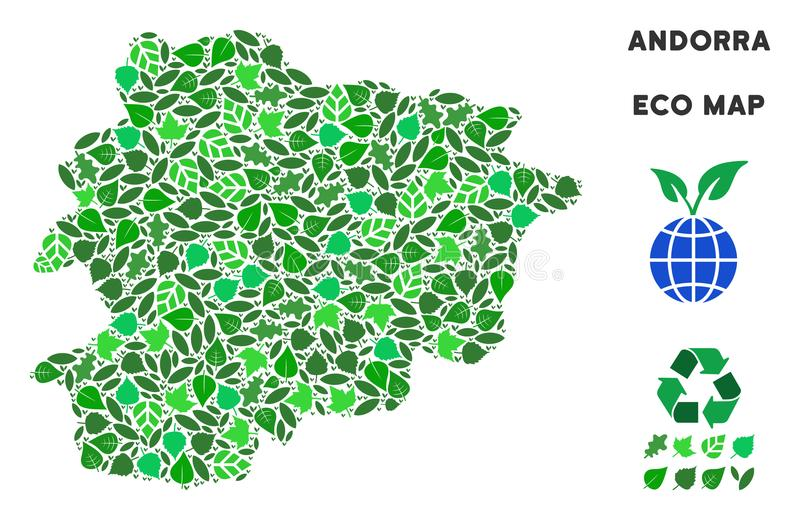 Vector Ecology Green Mosaic Andorra Map. Eco Andorra map collage of herbal leaves in green color hues. Ecological environment vector template. Andorra map is vector illustration