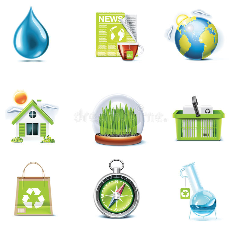 Vector ecology icon set. Part 3 royalty free illustration