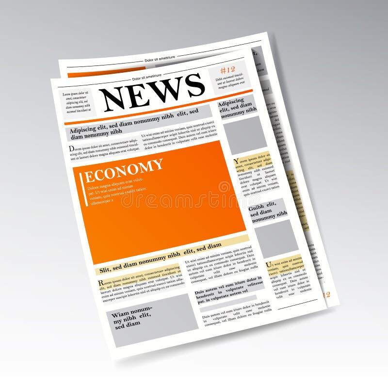 Vector económico realista doblado del periódico Negocio, información de las finanzas Diseño del diario del diario Ilustración ilustración del vector