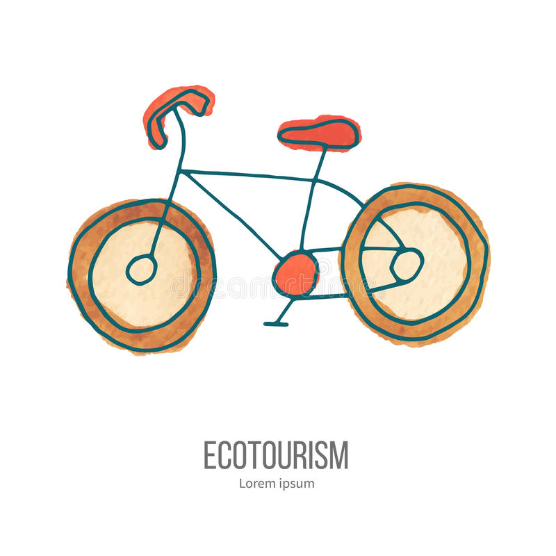 Vector ecotourism doodle on watercolor texture stock illustration