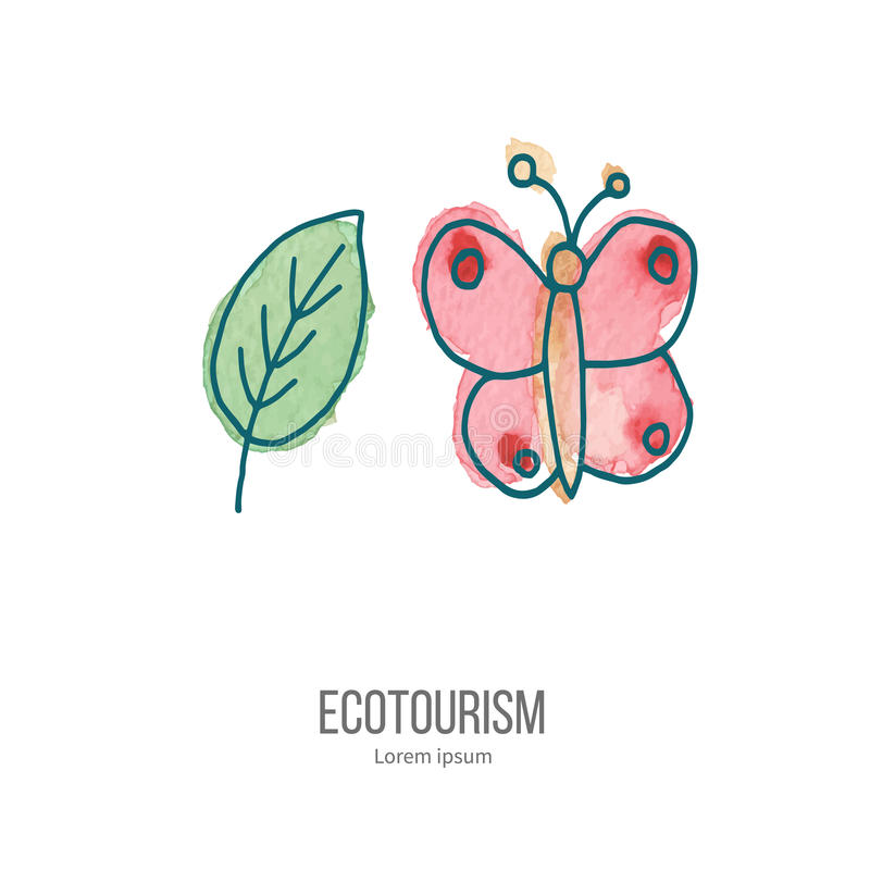 Vector ecotourism doodle on watercolor texture royalty free illustration