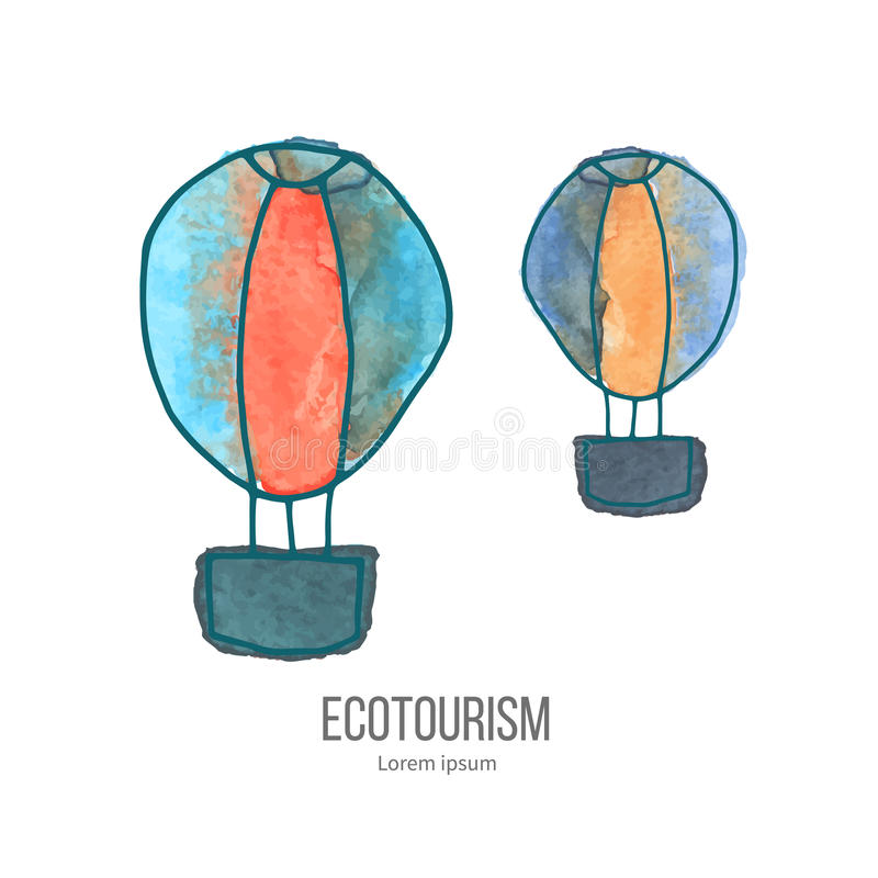 Vector ecotourism doodle on watercolor texture. Two hot air balloons. Ecotourism monochromatic line design element on hand painted abstract watercolor texture stock illustration