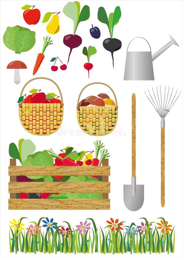 Vector editable beeld van het tuinieren en groenten royalty-vrije illustratie