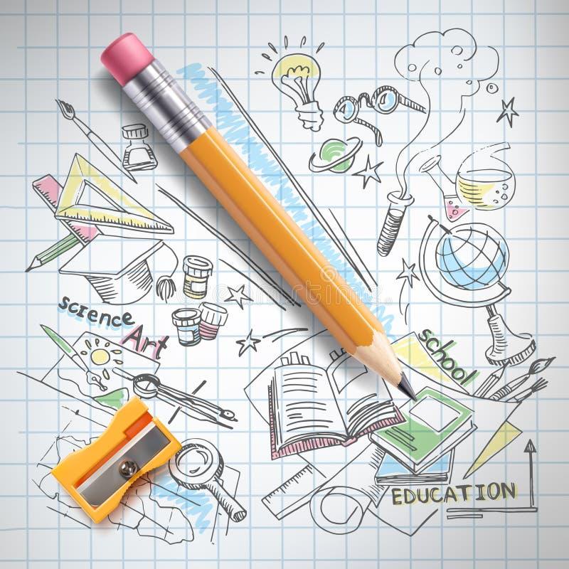 Vector a educação, conceito da ciência, lápis, esboço ilustração stock