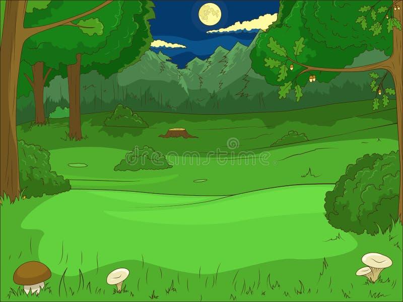 Vector educativo del juego de la historieta del bosque stock de ilustración