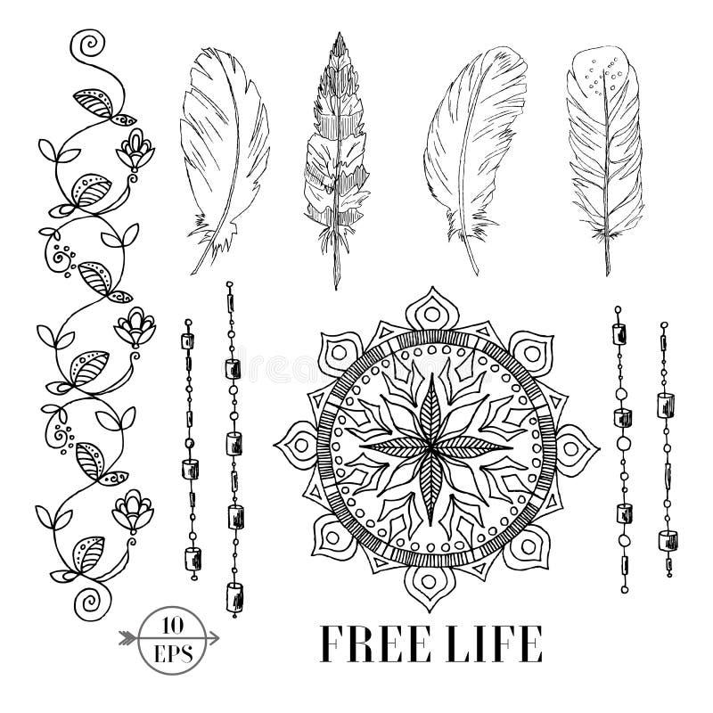 Vector een reeks van hand-drawn bloemenlint, dromenvanger, mandala, veren De illustratie van de Bohostijl vector illustratie