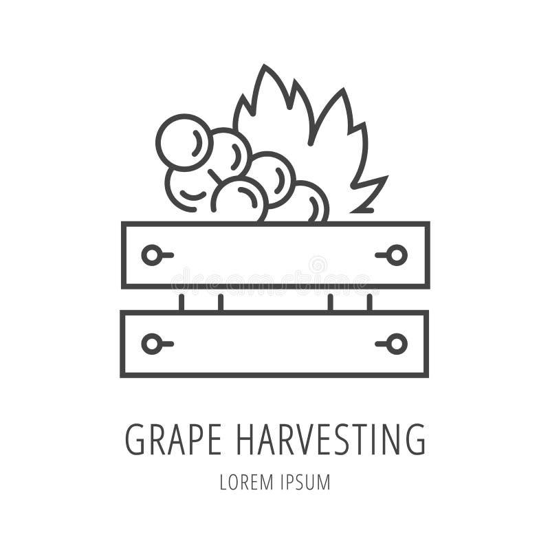 Vector Eenvoudig Logo Template Wine Harvesting royalty-vrije illustratie