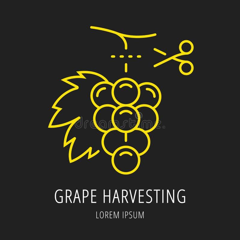 Vector Eenvoudig Logo Template Wine Harvesting stock illustratie