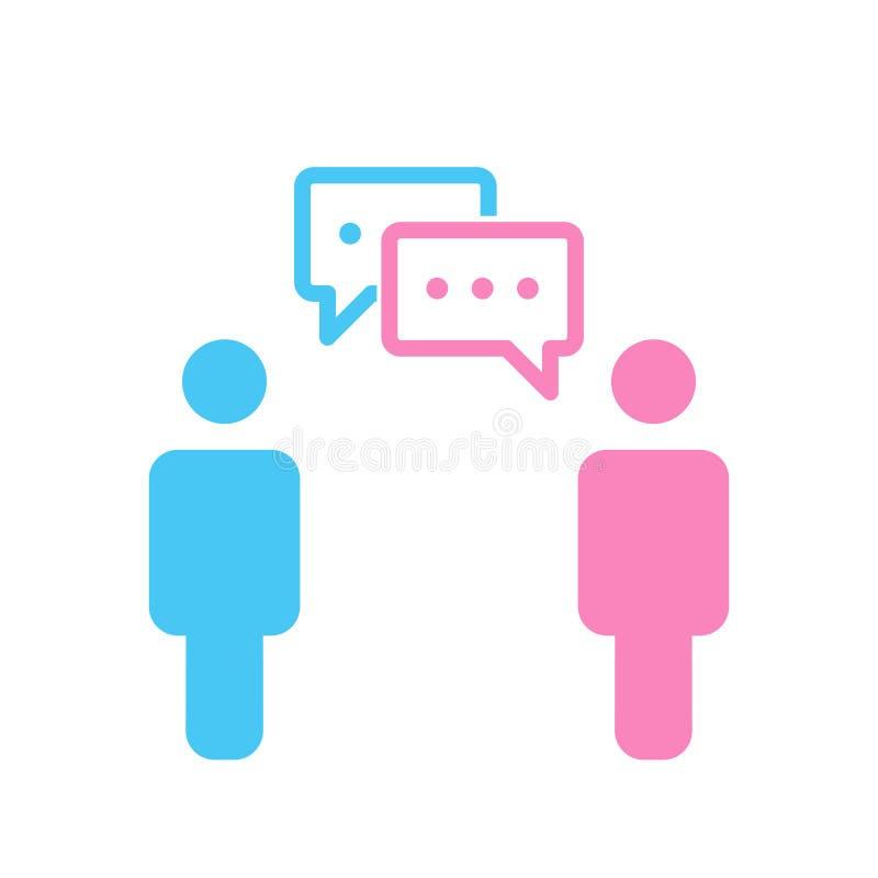 Vector eenvoudig silhouet van twee mensen met twee praatjebellen Sociale Media één mannetje en wijfje die aan elkaar spreken stock illustratie