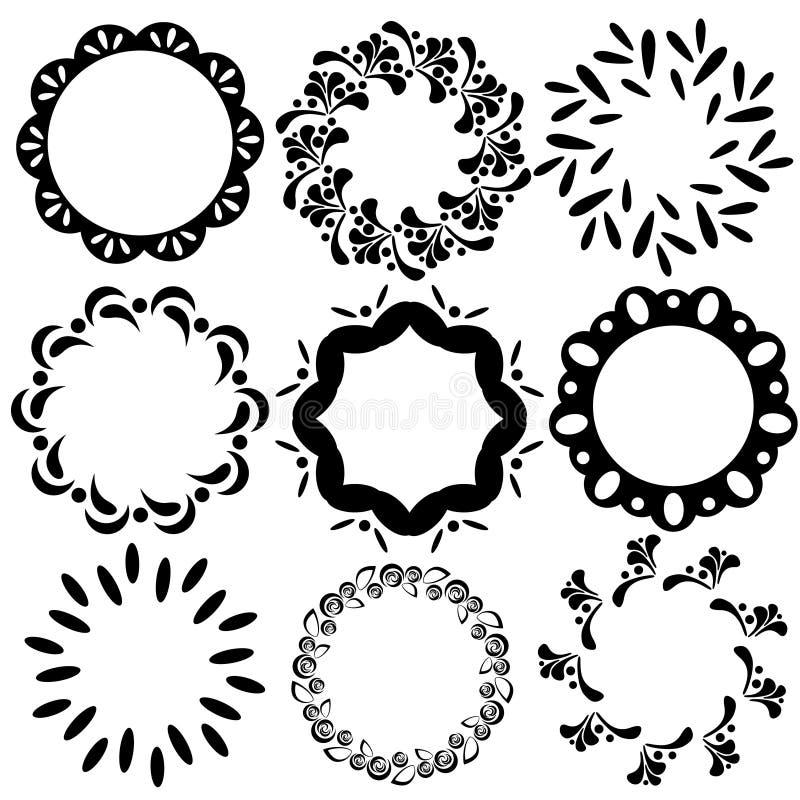 Vector eenvoudige bloemen en geometrische cirkelkaders royalty-vrije illustratie