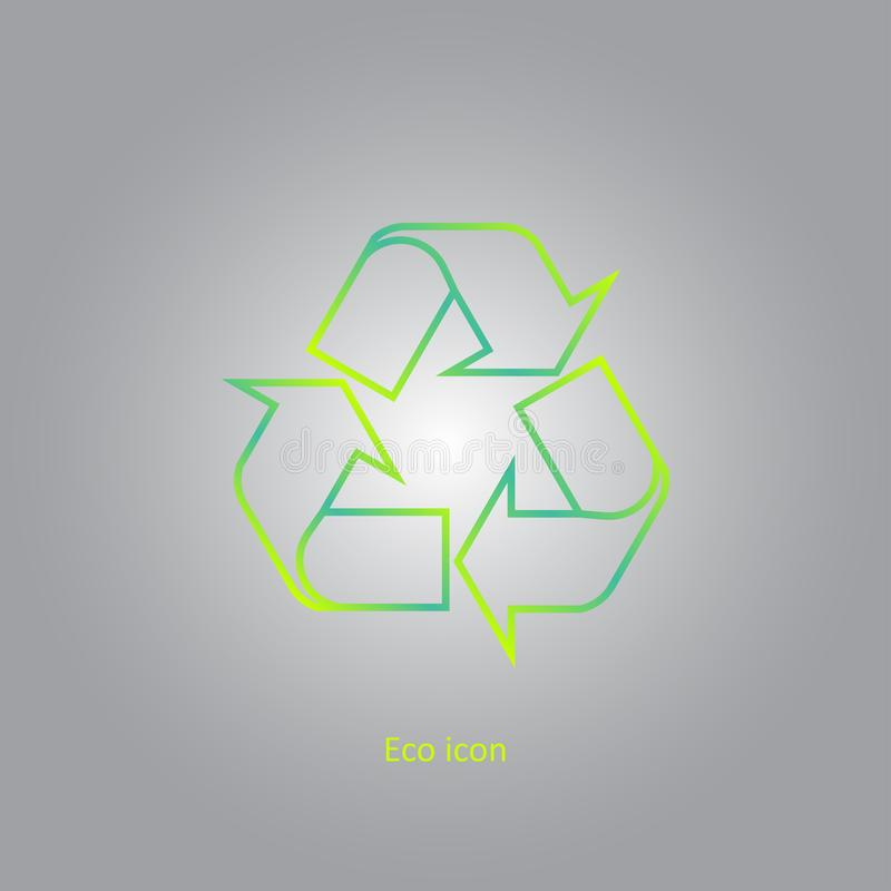 Vector eenvoudige eco bracht overzichts kringlooppictogram met elkaar in verband Geïsoleerd kringloopontwerpelement in in gradiën stock illustratie