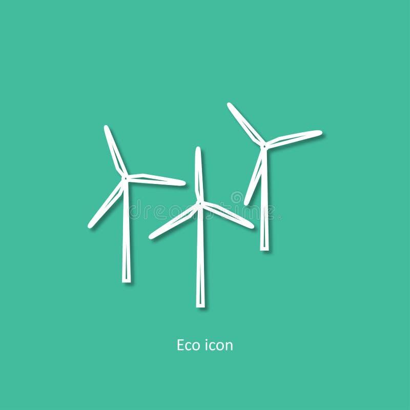 Vector eenvoudige eco bracht overzichtspictogram van windgenerators met elkaar in verband Alternatieve hernieuwbare elektriciteit royalty-vrije illustratie