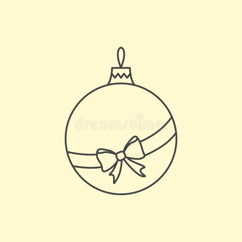 Vector eenvoudige Kerstboombal met lint en boog Lijnart. royalty-vrije illustratie