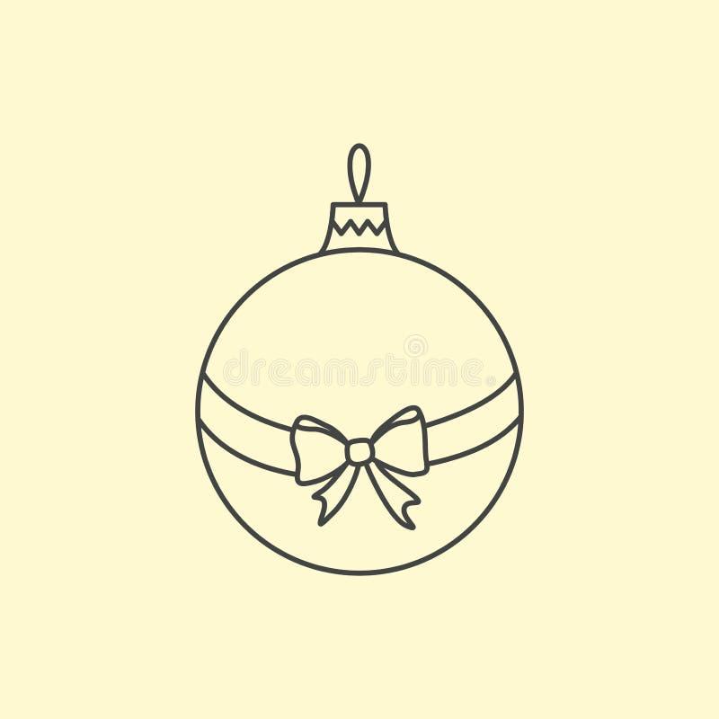 Vector eenvoudige Kerstboombal met lint en boog Lijnart. vector illustratie