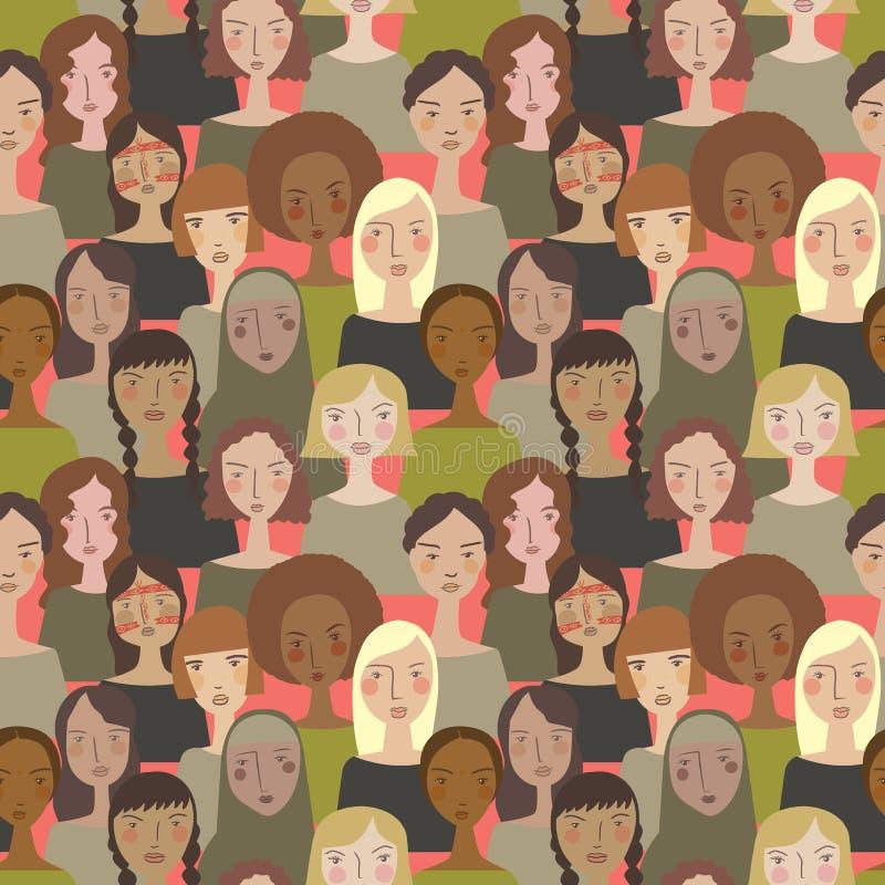 Vector eenvoudige minimalistische vrouwen in Pantone' s kleur van de achtergrond van het jaar naadloze patroon vector illustratie