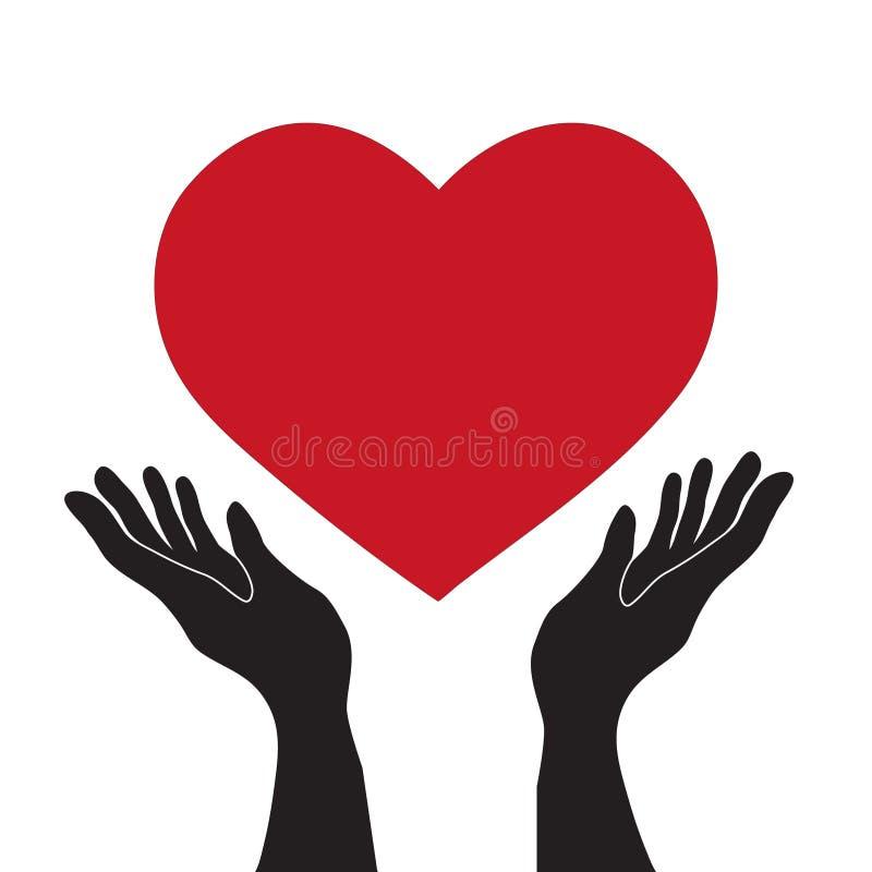 Vector eenvoudige vlakke zwarte handen die rood hartpictogram, liefde Rome houden royalty-vrije illustratie