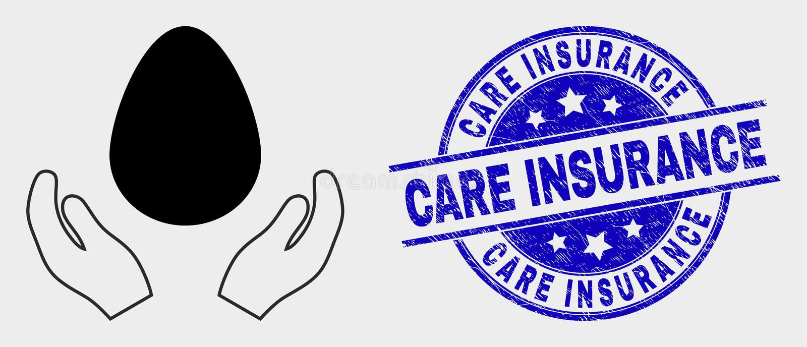 Vector Egg Care Hands Icon and Scratched Care Insurance Stamp. Vector egg care hands icon and Care Insurance watermark. Red rounded grunge watermark with Care royalty free illustration