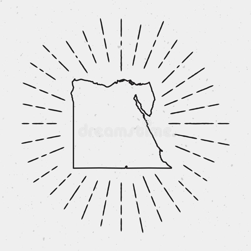 Vector Egypt Map Outline with Retro Sunburst. royalty free illustration
